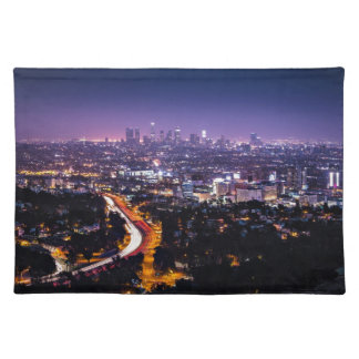 Los Angeles, California Skyline at night Cloth Placemat