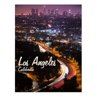 los angeles california skyline at night postcard