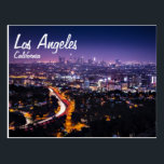 "Los Angeles, California Skyline at night Postcard<br><div class=""desc"">Beautiful view of the Los Angeles Downtown skyline at night.   The bright city lights can be seen as well as the traffic on the 101 freeway in the foreground.   The sky is a beautiful purple color right after sunset.</div>"