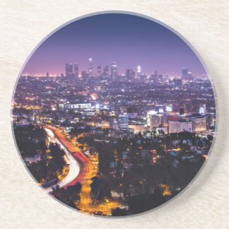 Los Angeles, California Skyline at night Sandstone Coaster