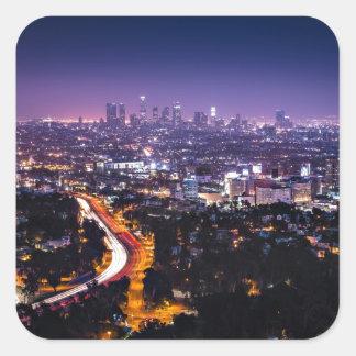 Los Angeles, California Skyline at night Square Sticker