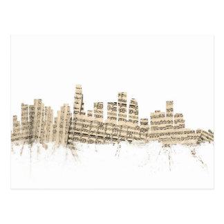 Los Angeles California Skyline Sheet Music Citysca Postcard