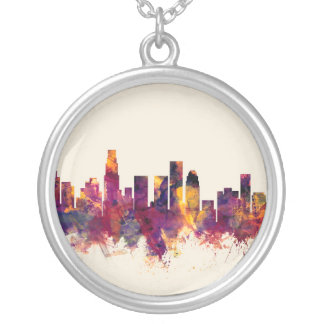 Los Angeles California Skyline Silver Plated Necklace
