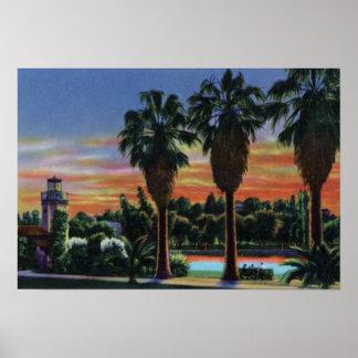 Los Angeles California Sunset at Echo Park Print