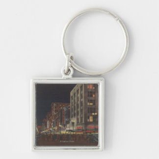 Los Angeles, CASouth View of Broadway from 6th Silver-Colored Square Keychain