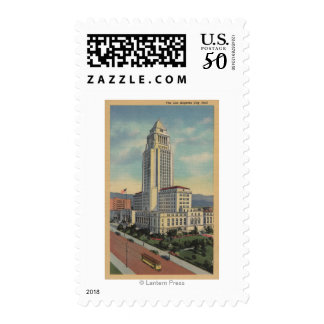 Los Angeles, CAView of City Hall and Cable Car Postage