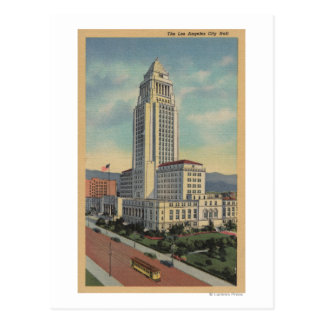 Los Angeles, CAView of City Hall and Cable Car Postcard