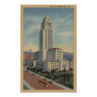 Los Angeles, CAView of City Hall and Cable Car Poster