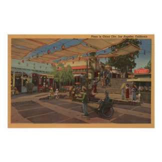 Los Angeles, CAView of Plaza in Chinatown Poster