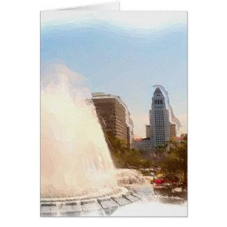 Los Ángeles, céntrico ayuntamiento y Fountains_ Tarjeta De Felicitación