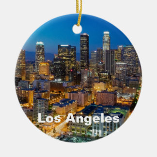 Los Ángeles céntrico en la oscuridad Adorno Navideño Redondo De Cerámica