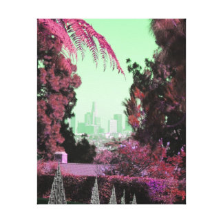 Los Angeles Citiscape Colorful Tree Thick Photo Canvas Print