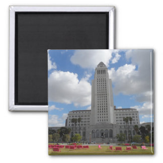Los Angeles City Hall 2 Inch Square Magnet