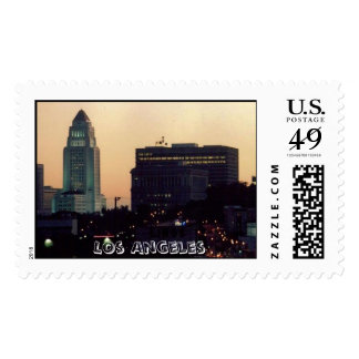 Los Angeles City Hall at dusk Postage Stamp