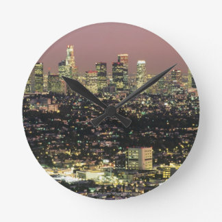 Los Angeles Cityscape at Night Round Clock