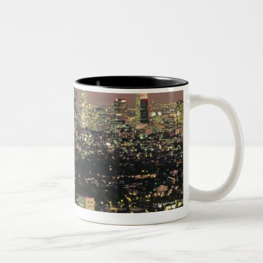 Los Angeles Cityscape at Night Two-Tone Coffee Mug