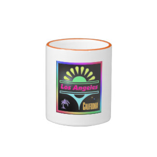 """""""Los Angeles Colorful Black Background"""" Cup"""