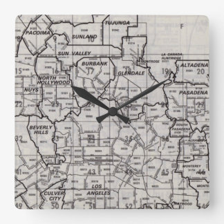 Los Angeles County Street Atlas Square Wall Clock