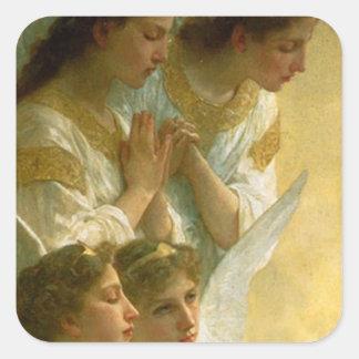 Los ángeles de Bouguereau Calcomanías Cuadradass