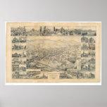 Los Ángeles del este, mapa panorámico 1888 (0900A) Posters