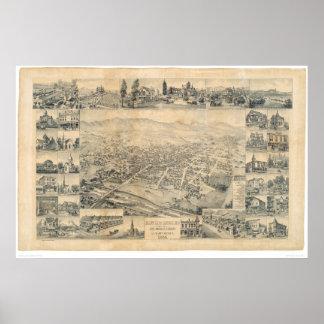 Los Ángeles del este, mapa panorámico 1888 (0900A) Póster