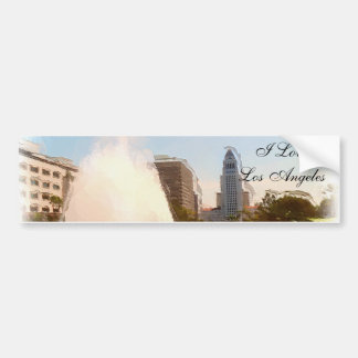 Los Angeles,Downtown City Hall & Fountains_ Bumper Sticker