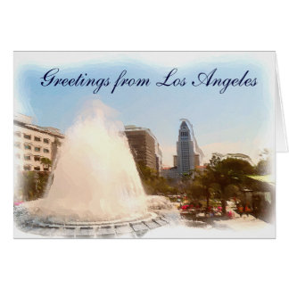 Los Angeles,Downtown City Hall & Fountains_ Card