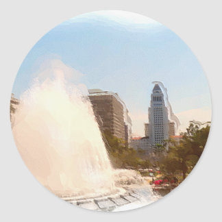 Los Angeles,Downtown City Hall & Fountains_ Classic Round Sticker