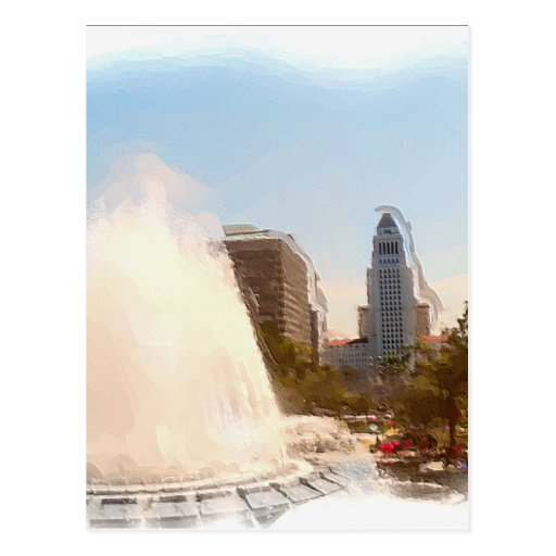 Los Angeles,Downtown City Hall & Fountains_ Postcard