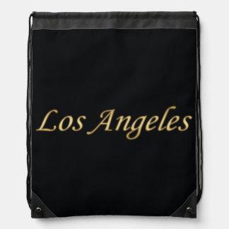 Los Angeles Gold - On Black Drawstring Backpack