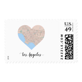 Los Angeles Heart Map Postage