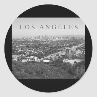 Los Angeles in Black and White Classic Round Sticker