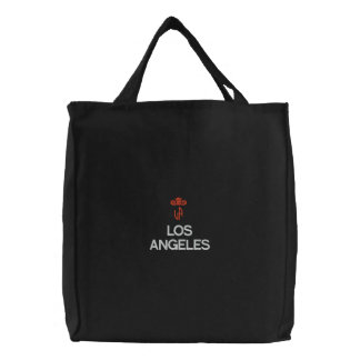 LOS ANGELES, LA BLACK TOTE EMBROIDERED TOTE BAG