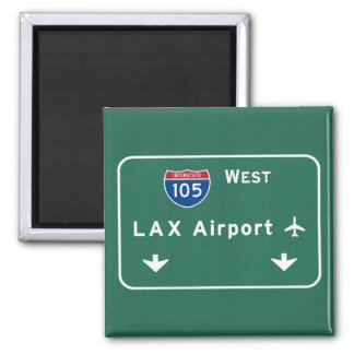 Los Angeles LAX Airport I-105 W Interstate Ca - 2 Inch Square Magnet