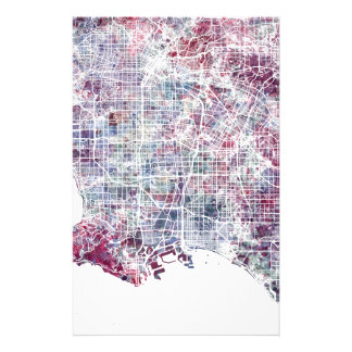 Los Angeles map California watercolor painting Stationery