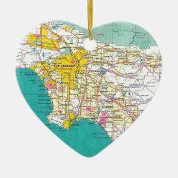 Los Angeles Map Ceramic Ornament
