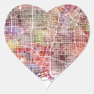 Los Ángeles map Pegatina En Forma De Corazón