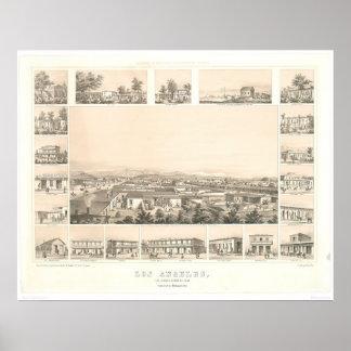 Los Ángeles, mapa panorámico 1857 (0903A) del CA Póster
