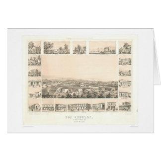 Los Ángeles, mapa panorámico 1857 (0903A) del CA Tarjetas