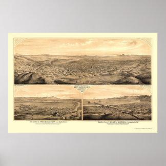 Los Ángeles, mapa panorámico de CA - 1877 Impresiones
