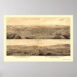 Los Ángeles, mapa panorámico de CA - 1877 Póster