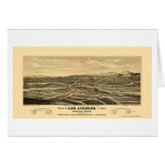 Los Ángeles, mapa panorámico de CA - 1877 Felicitacion