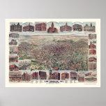 Los Ángeles, mapa panorámico de CA - 1891 Póster