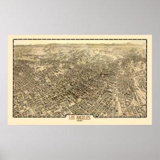 Los Ángeles, mapa panorámico de CA - 1909 Impresiones