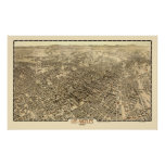 Los Ángeles, mapa panorámico de CA - 1909 Póster