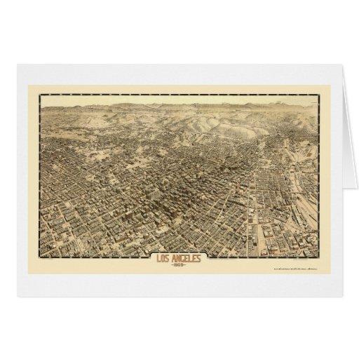 Los Ángeles, mapa panorámico de CA - 1909 Tarjeta De Felicitación