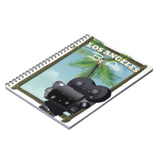 Los Angeles Movie Camera travel poster Spiral Notebook