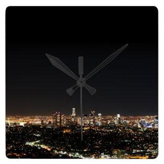 Los Angeles Night Square Wallclocks