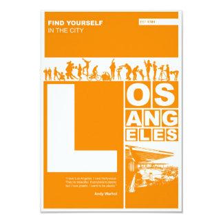 Los Angeles Poster in Orange color Card