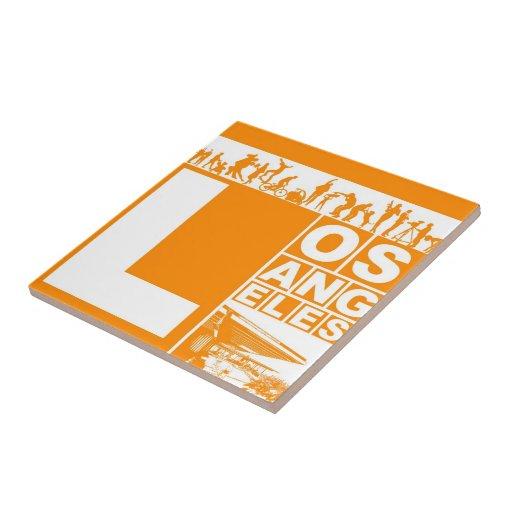Los Angeles Poster in Orange color Ceramic Tile